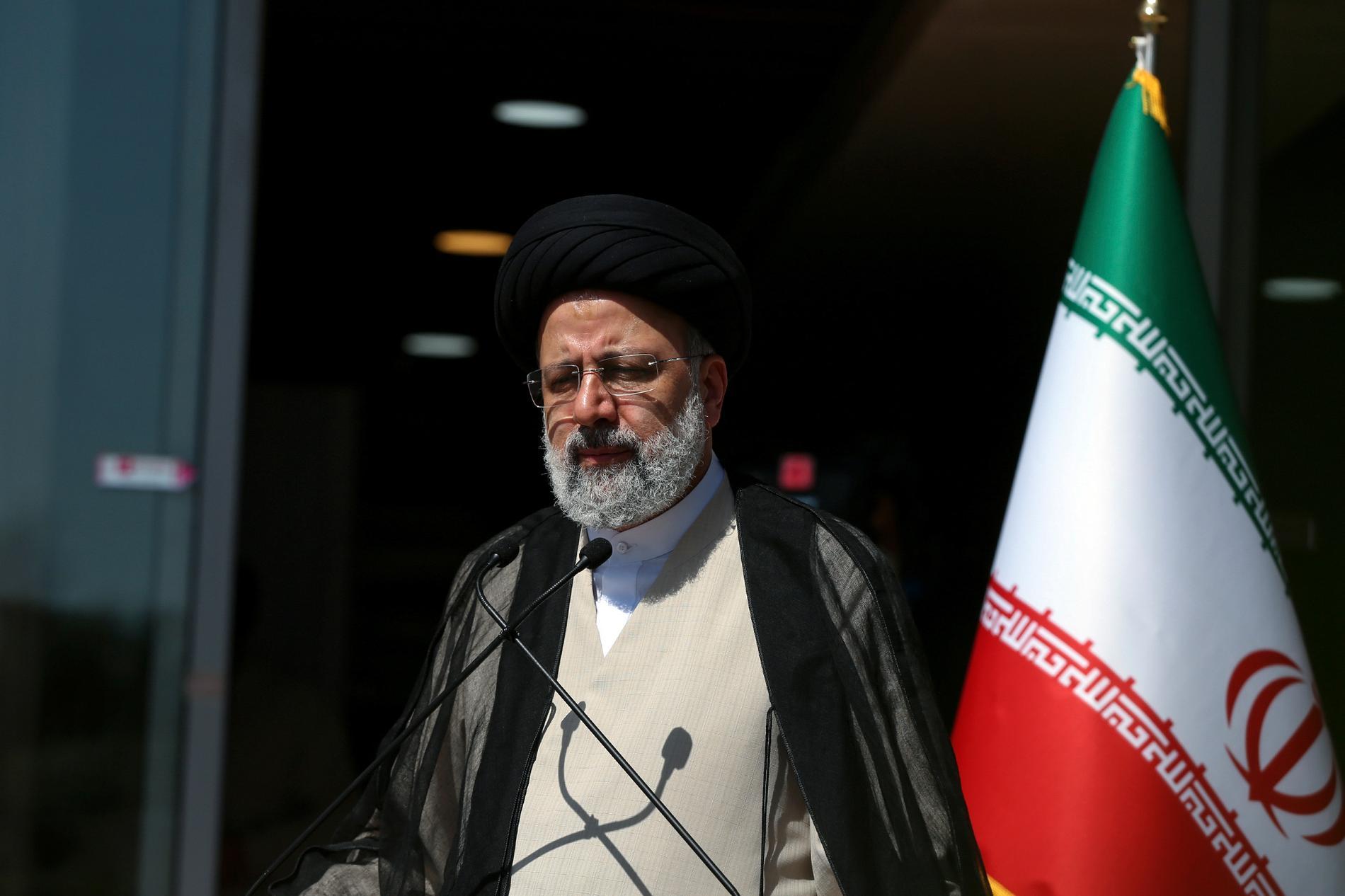 Irans tillträdande president Ebrahim Raisi under sin valkampanj. Arkivbild.