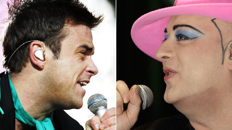 Boy George (till höger) skriver låtar till Robbie Williams kommande album – från sin fängelsecell.