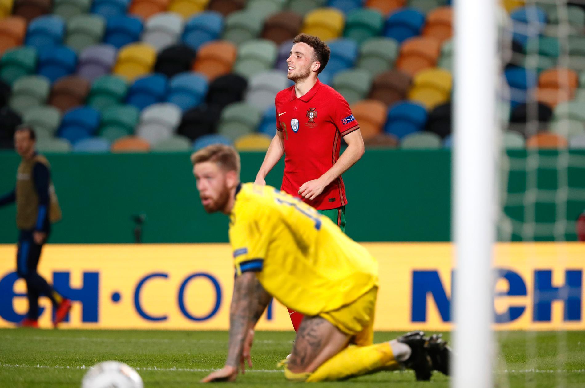 Diogo Jota gjorde två mål och ett assist mot Sverige.