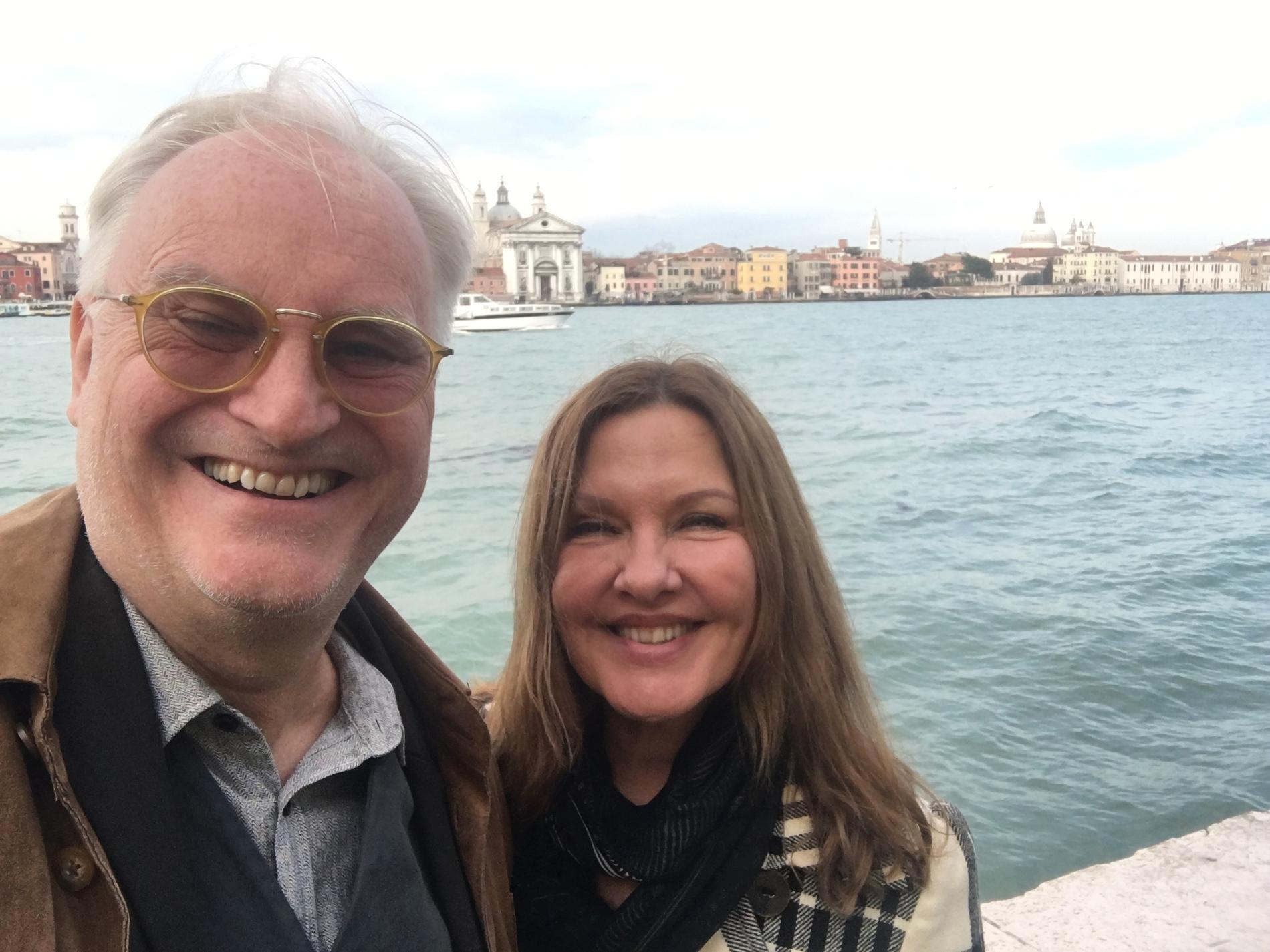 Anna-Lena Brundin Bergelin tillsammans med sambon Jan Sigurd i Venedig.