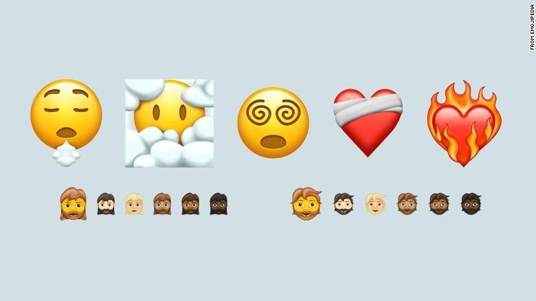 En av de nya emojisarna är ett ansikte bland molnen, kanske en symbol för att dagdrömma?