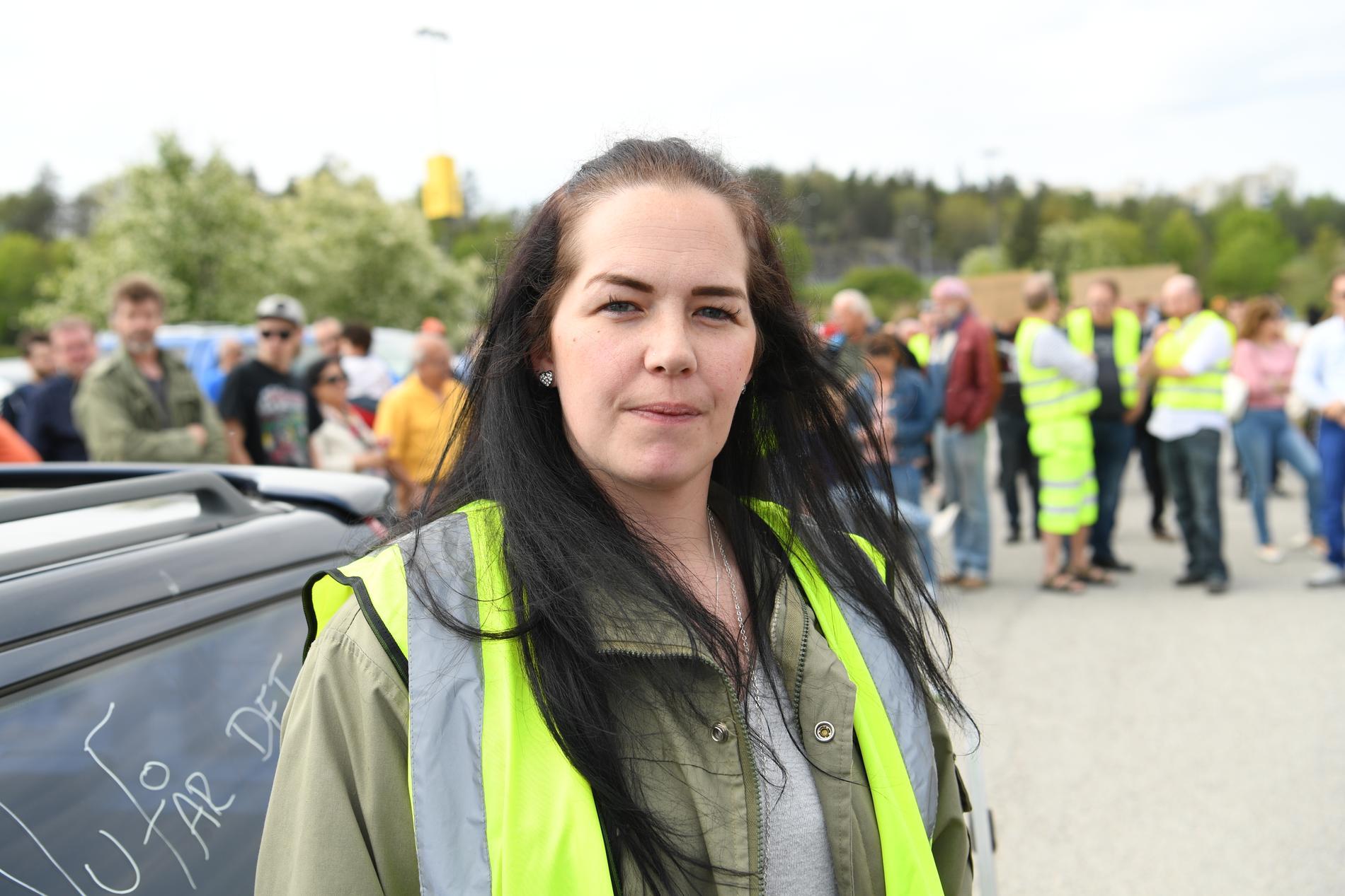 Therese Bergström, en av demonstranterna vid bensinupproret i Barkarby, norr om Stockholm.