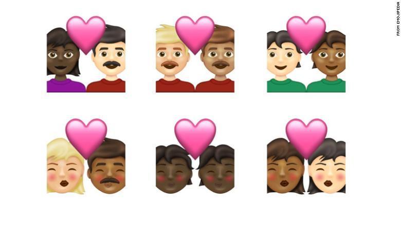 De allra flesta av de nya symbolerna är olika varianter av hudfärg för de som föreställer par.