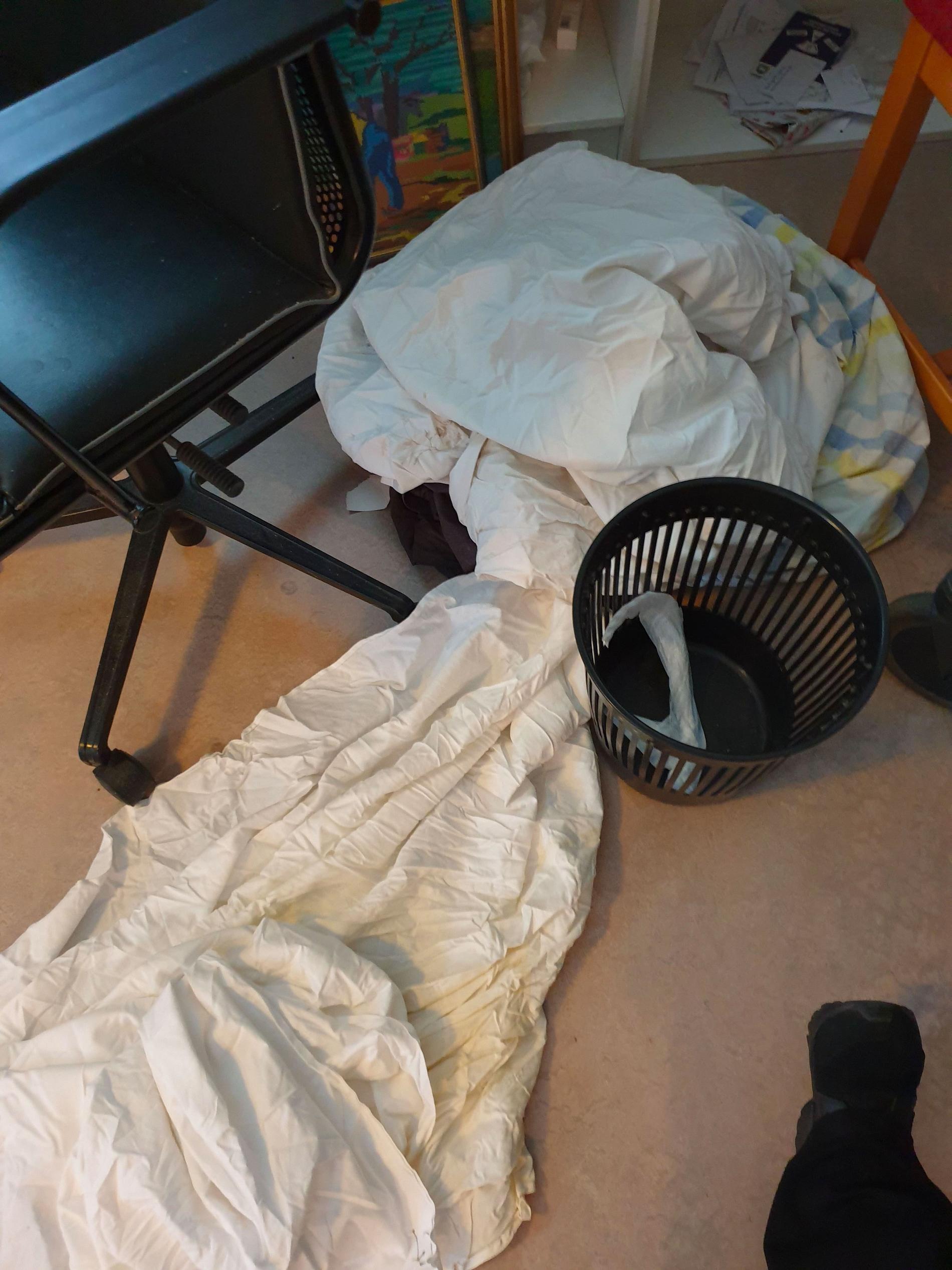 Trots daglig hjälp från hemtjänsten fanns det avföring på sängkläderna.