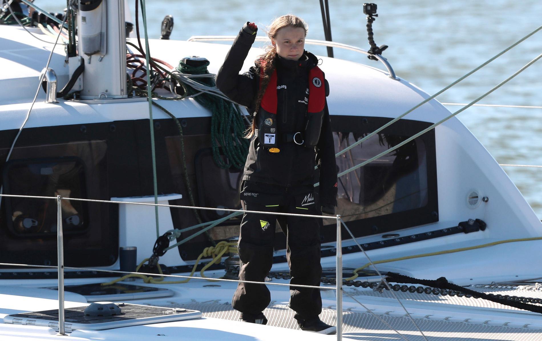 Greta Thunberg efter att ha seglat över Atlanten i december.