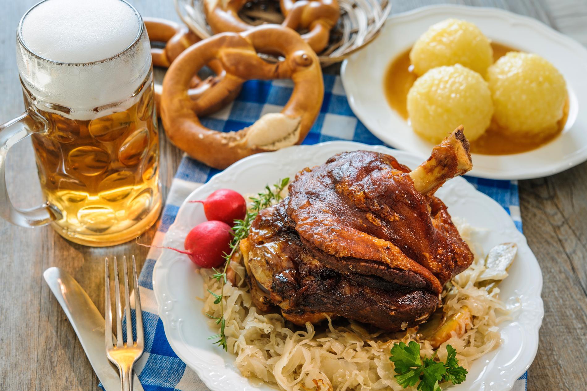Schweinshaxe är en klassiker på Oktoberfest.