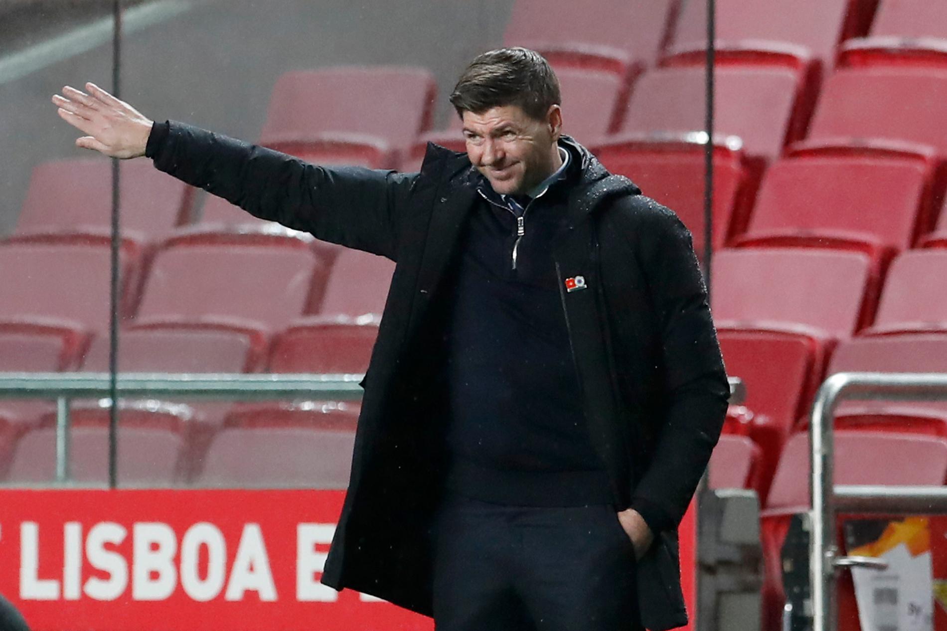 Rangers tränare Steven Gerrard under en match i Europa League förra säsongen. Arkivbild.