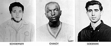Medborgarrättsaktivisterna Michael Schwerner, 24, från New York, James Chaney, 21, från Mississippi och Andrew Goodman, 20, från New York försvann i närheten av Philadelphia, Missisippi den 21 juni 1964. De hittades döda kort därefter.