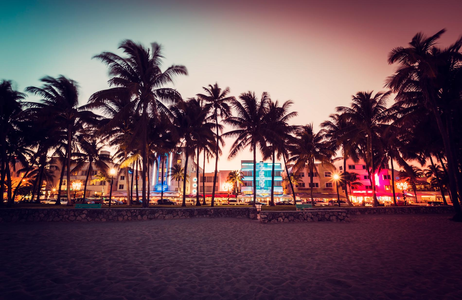 Miami är tredje mest populära resmålet med reguljärflyg.