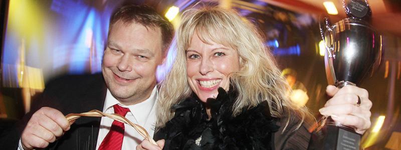 Johan Vestermark och Inga-Lill Karlsson vid Kneippens Spelbutik i Norrköping.