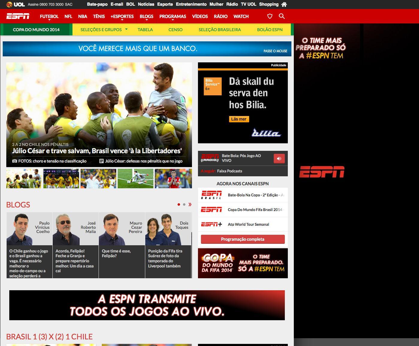 ESPN Brasils hemsida.