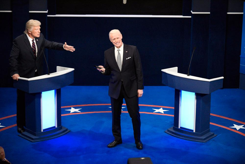"Alec Baldwin och Jim Carrey parodierade Donald Trump respektive Joe Biden i ""Saturday night live"". Arkivbild."