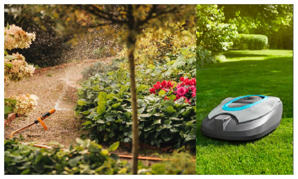 Smarta, tekniska lösningar har en självklar plats i den moderna trädgården. Här bevattningssystemet Action watering från Fiskars garden. Med en robotgräsklippare kan du njuta av grönskan i stället för att svettas över gräsklipp. Den här kommer från Gardena och heter Sileno city.