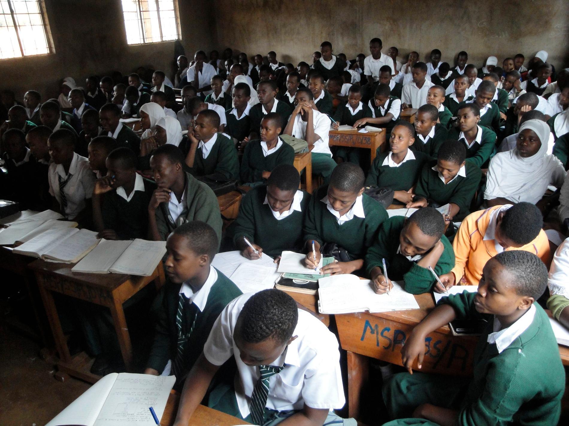Tätt i skolraderna under en biologilektion i skolan Msaranga nära Moshi i en bild från 2010.