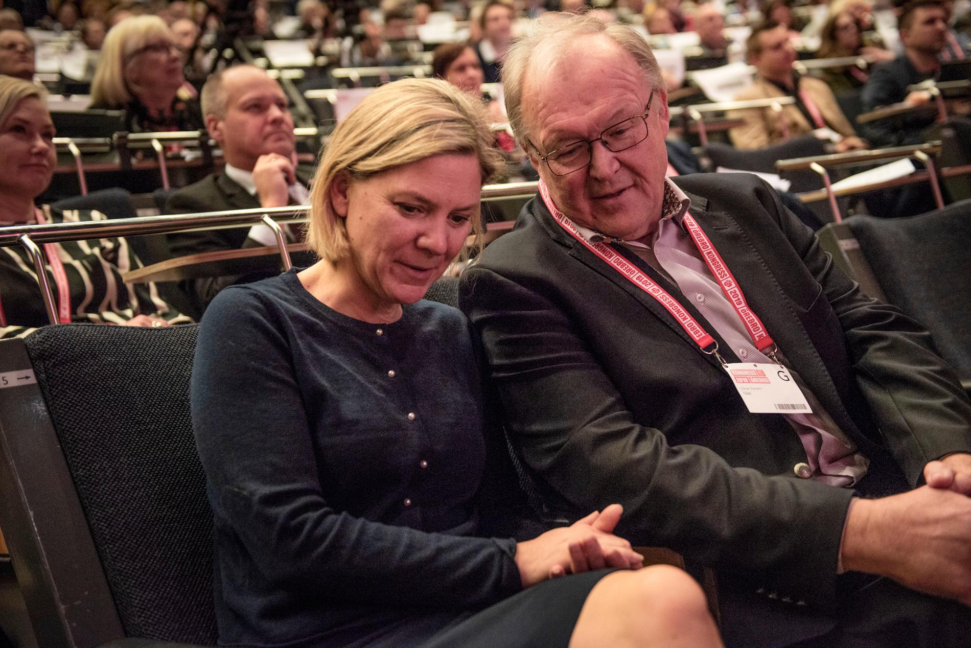 Magdalena Andersson och Göran Persson på Socialdemokraternas partikongress, 2019.
