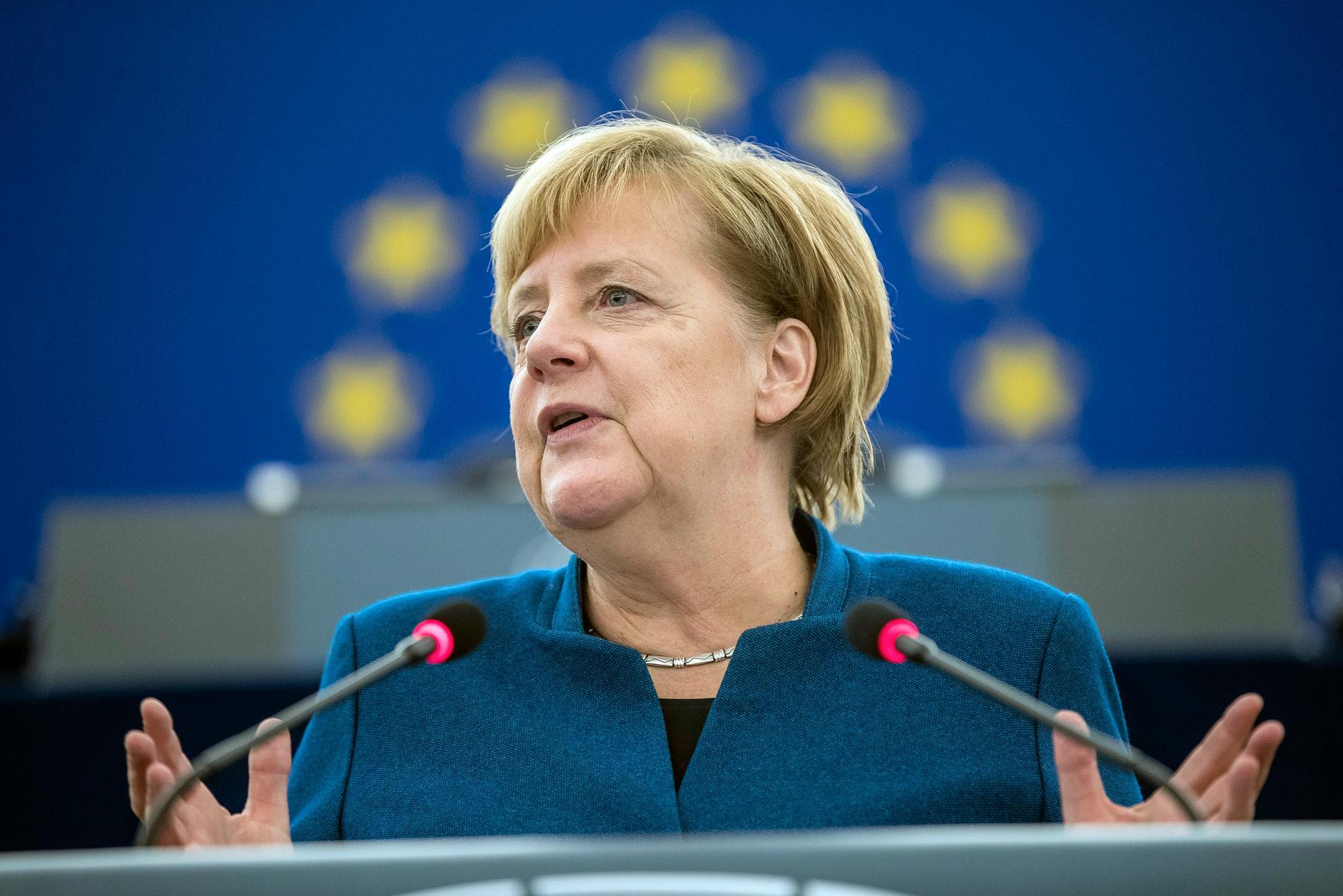 Tysklands förbundskansler Angela Merkel i EU-parlamentet i Strasbourg.