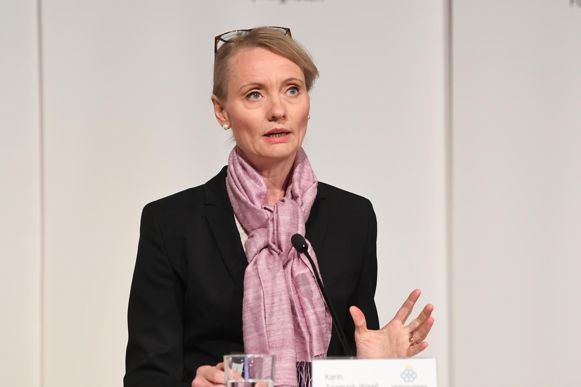 Karin Tegmark Wisell, avdelningschef, Folkhälsomyndigheten, deltar på dagens myndighetsgemensamma pressträff om läget när det gäller covid-19. Arkivbild.