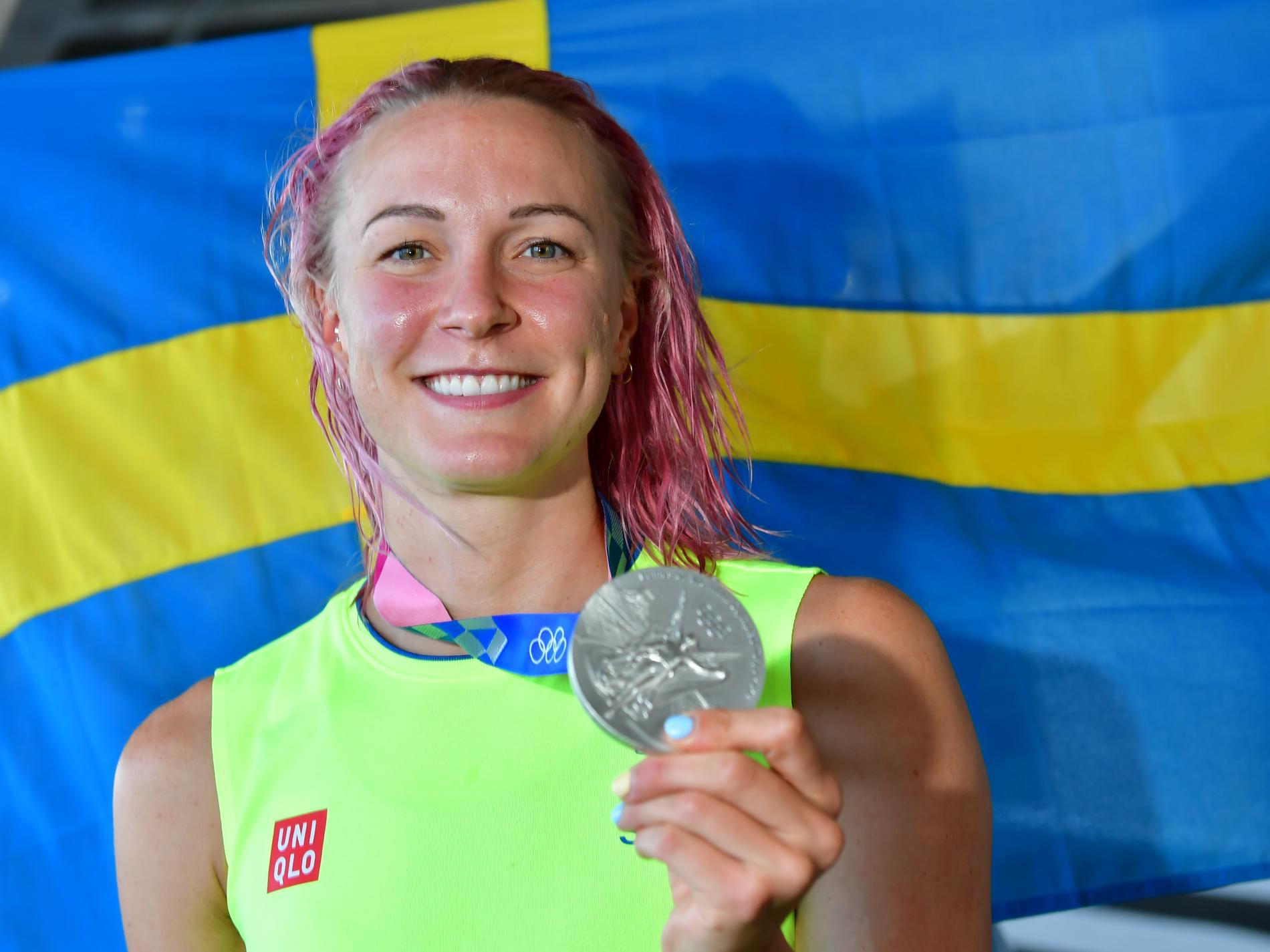 Sarah Sjöström med sitt OS-silver på 50 meter fritt.
