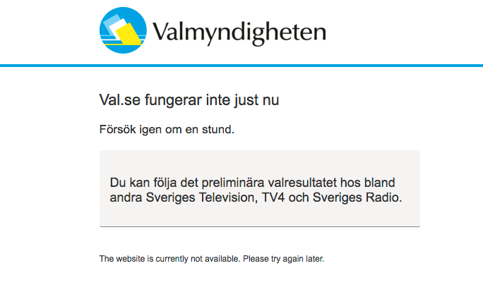 Valmyndighetens hemsida, www.val.se, kraschade omkring klockan 20.30 på söndagskvällen, efter vallokalerna stängt
