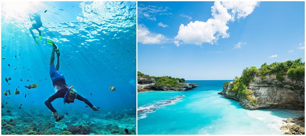 På ön Nusa Penida är vattnet kristallklart och under ytan finns ett fascinerande undervattenslandskap.