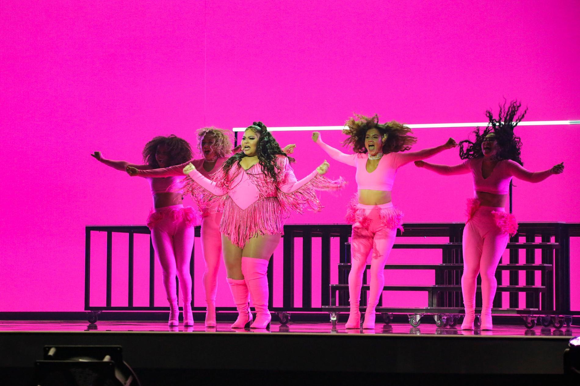 Destiny kroppshånades efter att ha repeterad i sin illrosa klänning i Eurovision.