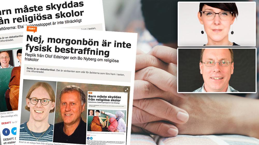 """Barnens frihet måste gå före """"den kristna läran om föräldraansvar"""" och andra religiösa uppfattningar, skriver Anna Bergström och Ulf Gustafsson, Humanisterna."""