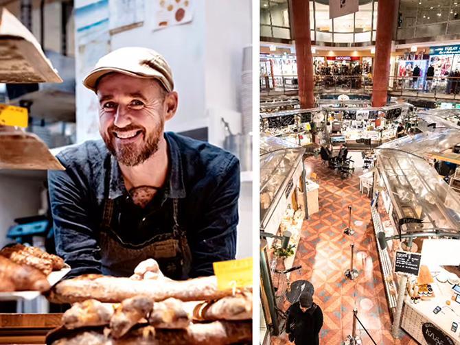 I Söderhallarna på Medborgarplatsen bakar Sébastien Boudet bullar och bröd på franska recept med svenska råvaror.