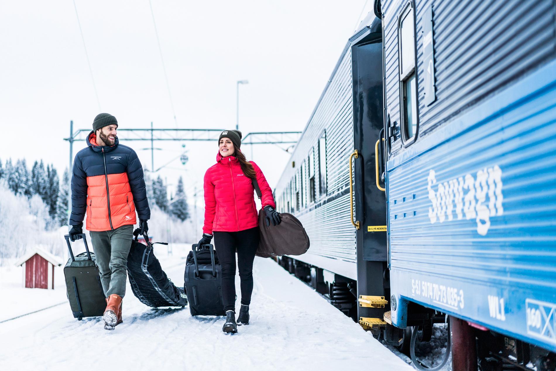 Det finns flera skidorter som går att ta sig till med tåg.