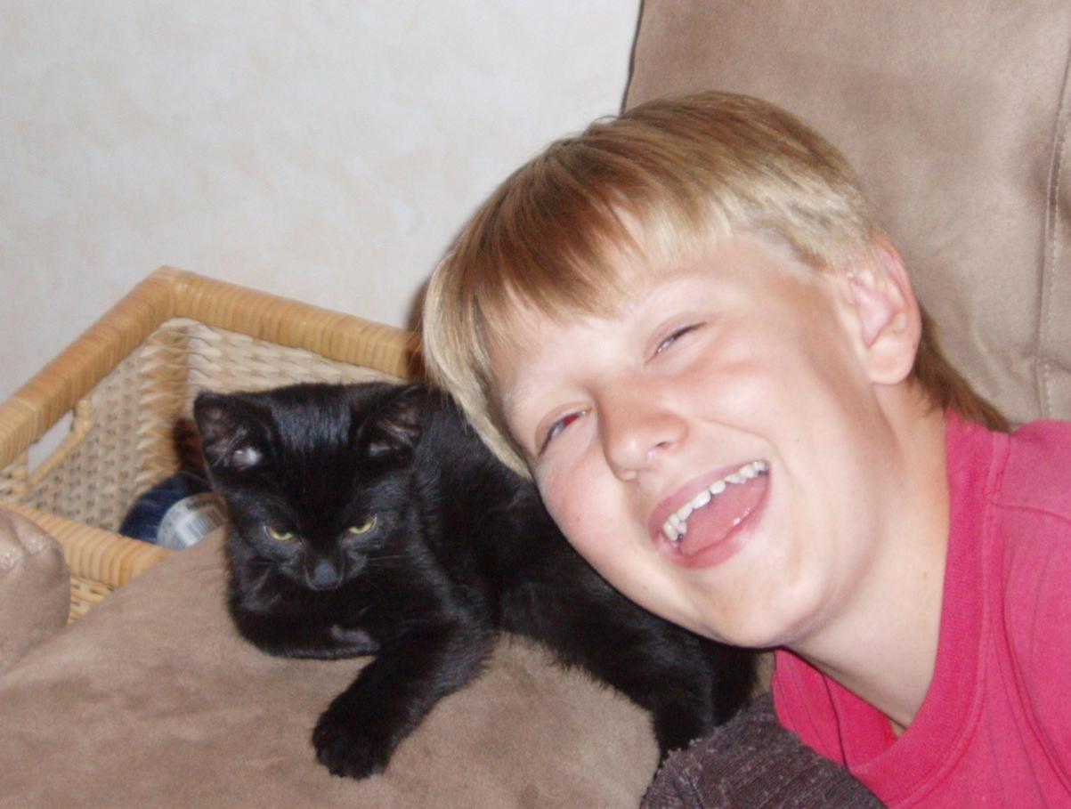 Sigge med sin älskade katt