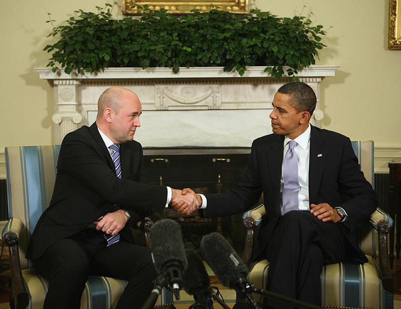 Fredrik Reinfeldt på besök hos Barack Obama i Vita huset.