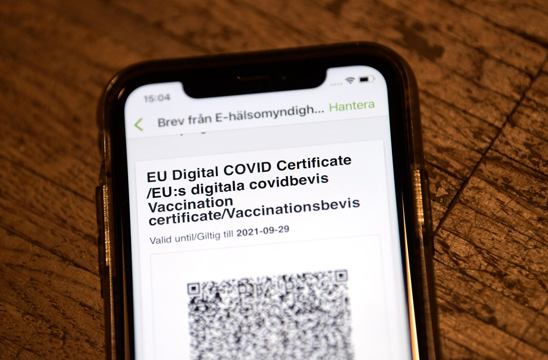 Covid vaccinationsbevis. Det digitala vaccinpasset.