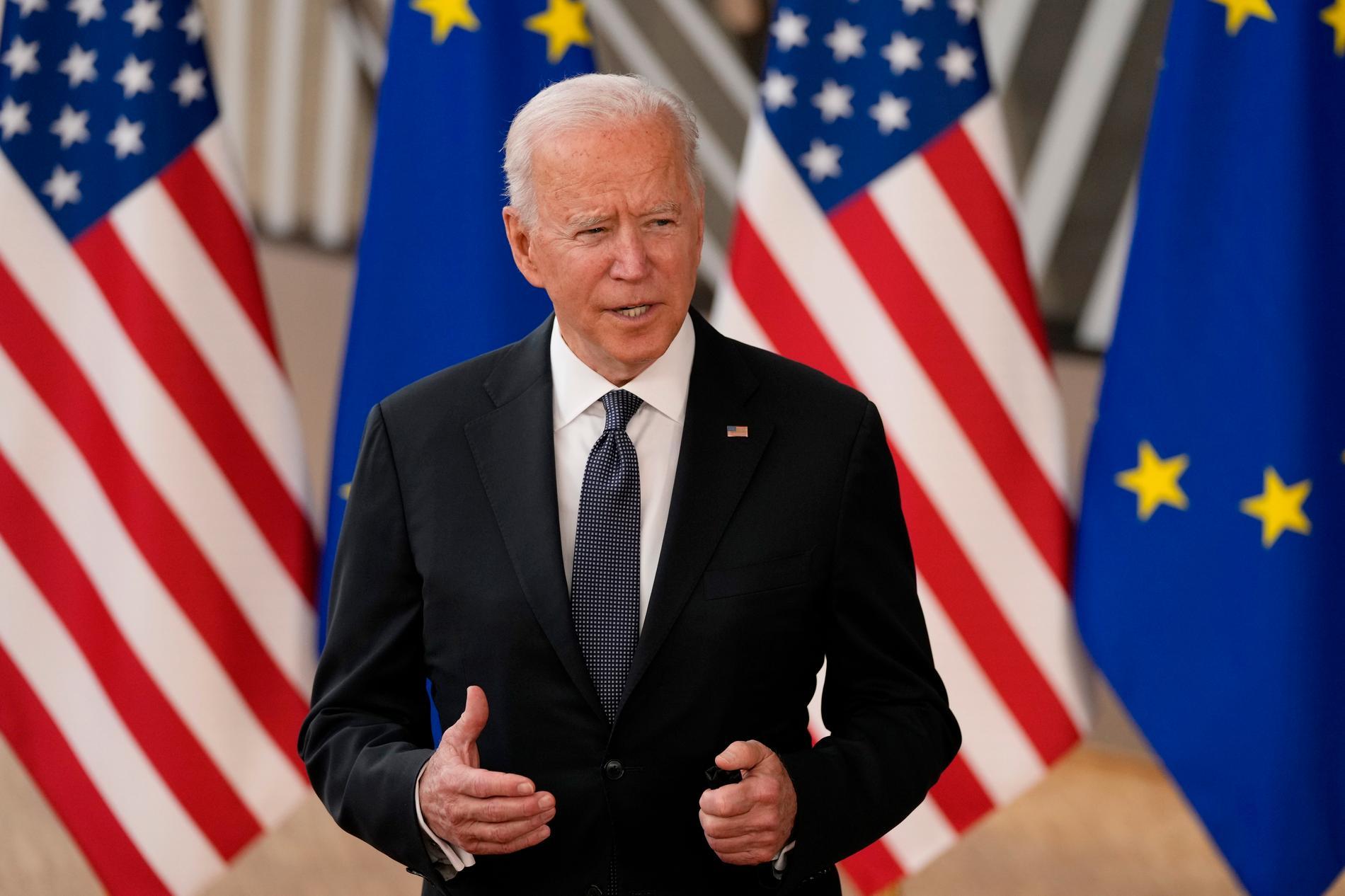 USA:s president Joe Biden under sitt toppmöte med EU:s ledare i Bryssel, den 15 juni.
