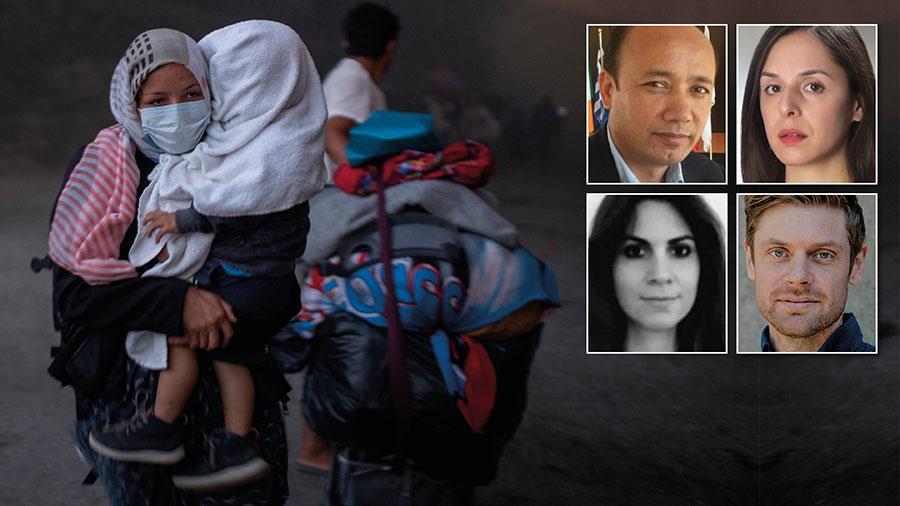 En kvinna flyr med sitt barn från branden i flyktinglägret Moria. Den svenska regeringen hävdar att de inte kan ta emot några flyktingar från lägret. Det är allvarligt att man gömmer sig bakom felaktiga påståenden för att undvika stå för de humanitära konsekvenserna av beslutet, skriver representanter från grekiska biståndsgrupper.