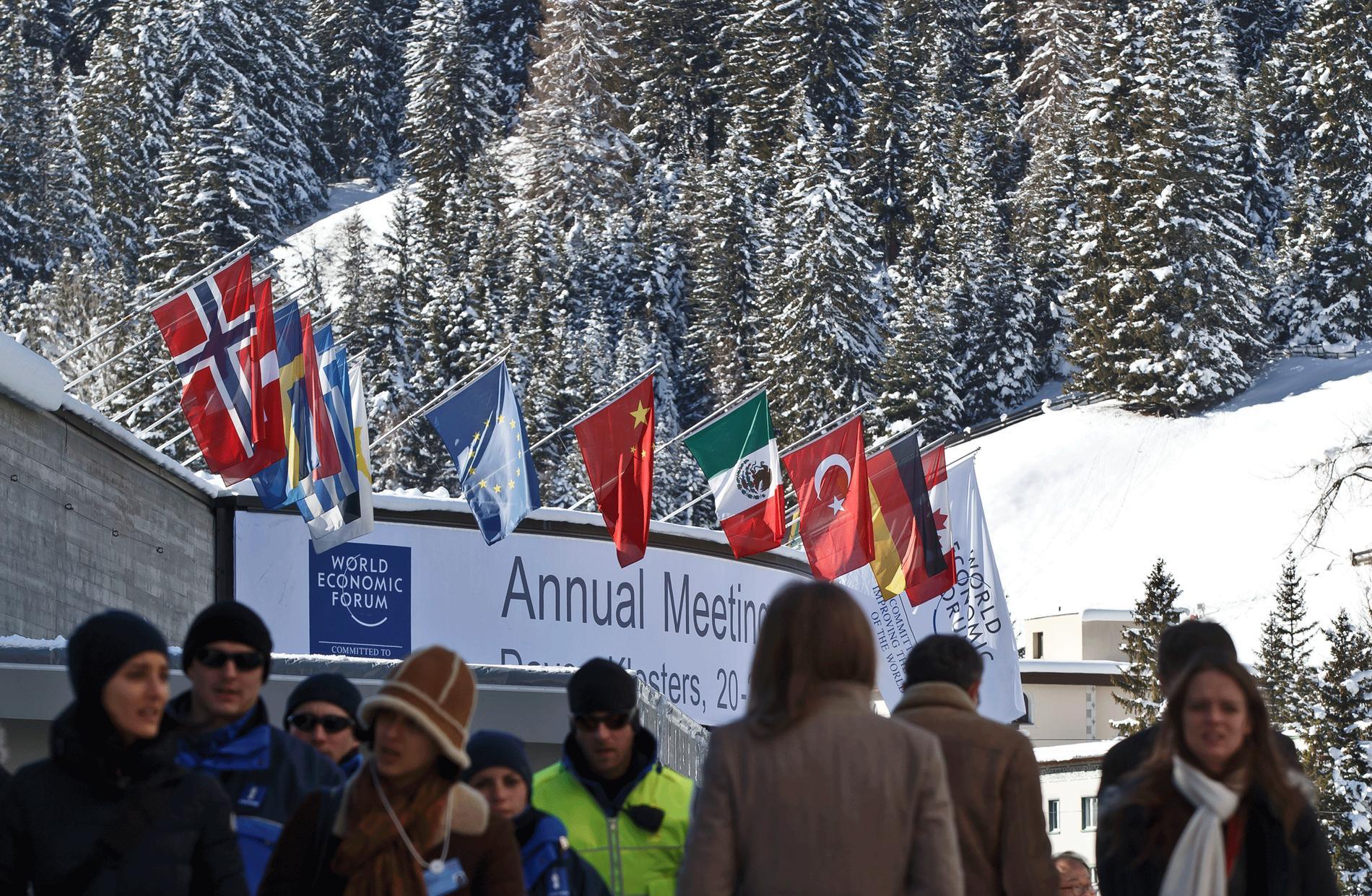 Så här såg det ut för ett år sedan när världens maktelit samlade i skidorten Davos. I dag är det dags igen.
