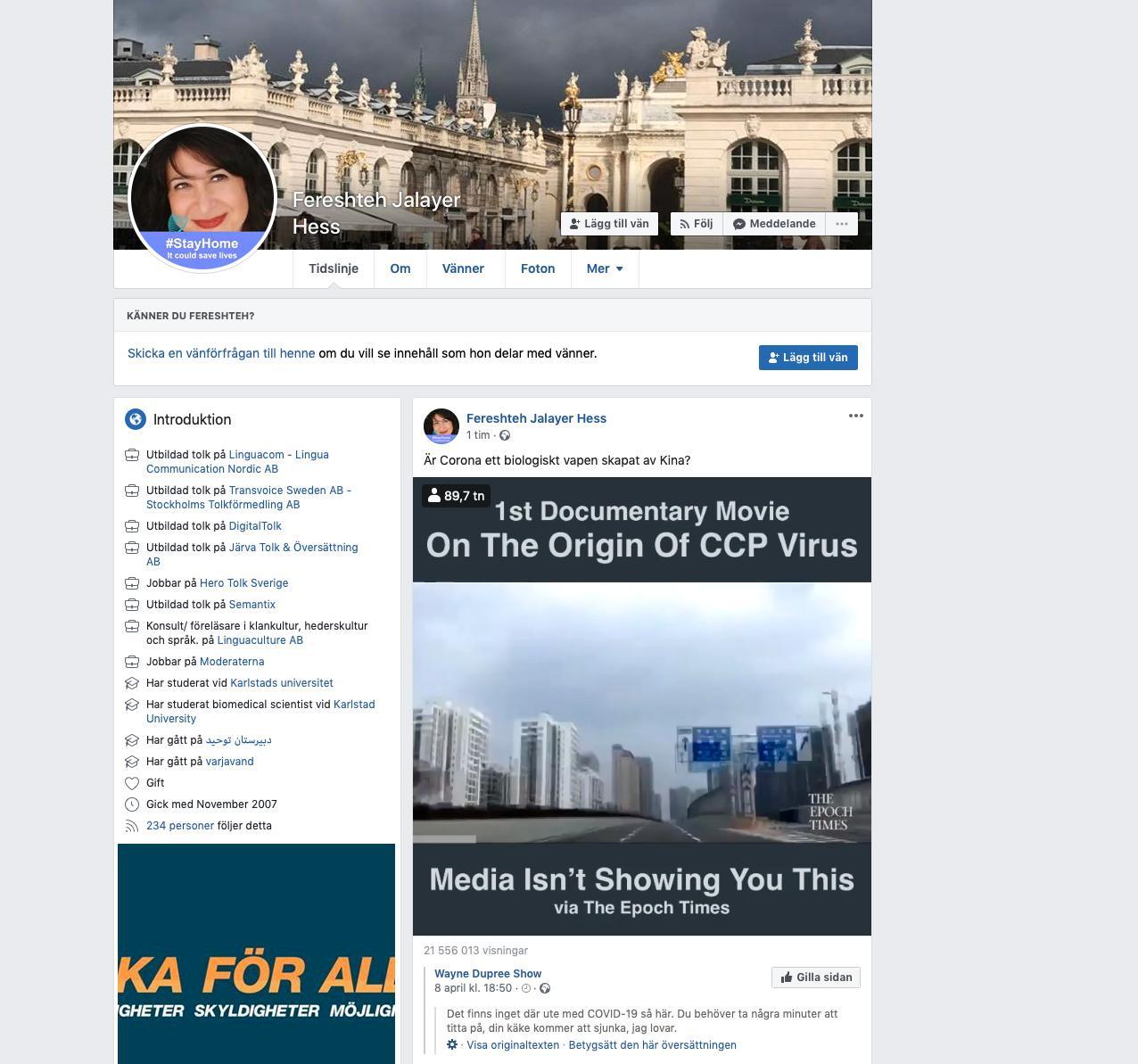 """Kommunpolitikern Fereshteh Jalayer (M), publicerade ett facebookinlägg där hon skrev """"Är corona ett biologiskt vapen skapat av Kina?"""""""