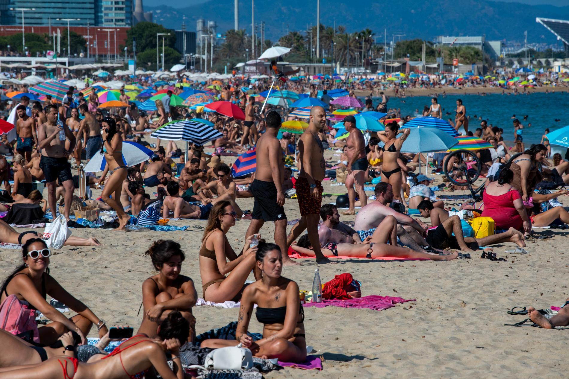 Strand i Barcelona.