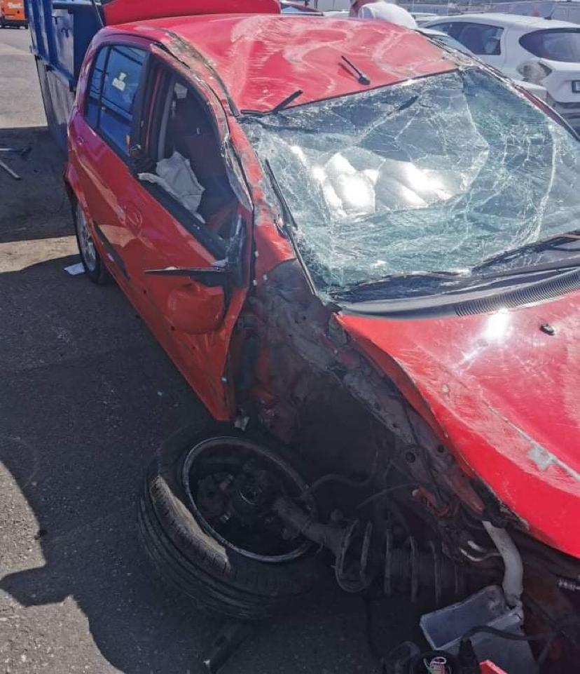 Bilen blev skrot efter olyckan.