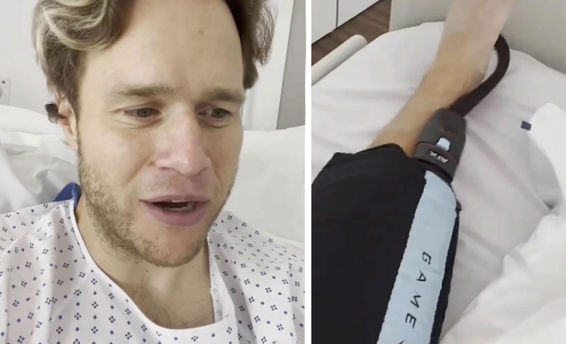 Olly Murs i sjukhussängen.