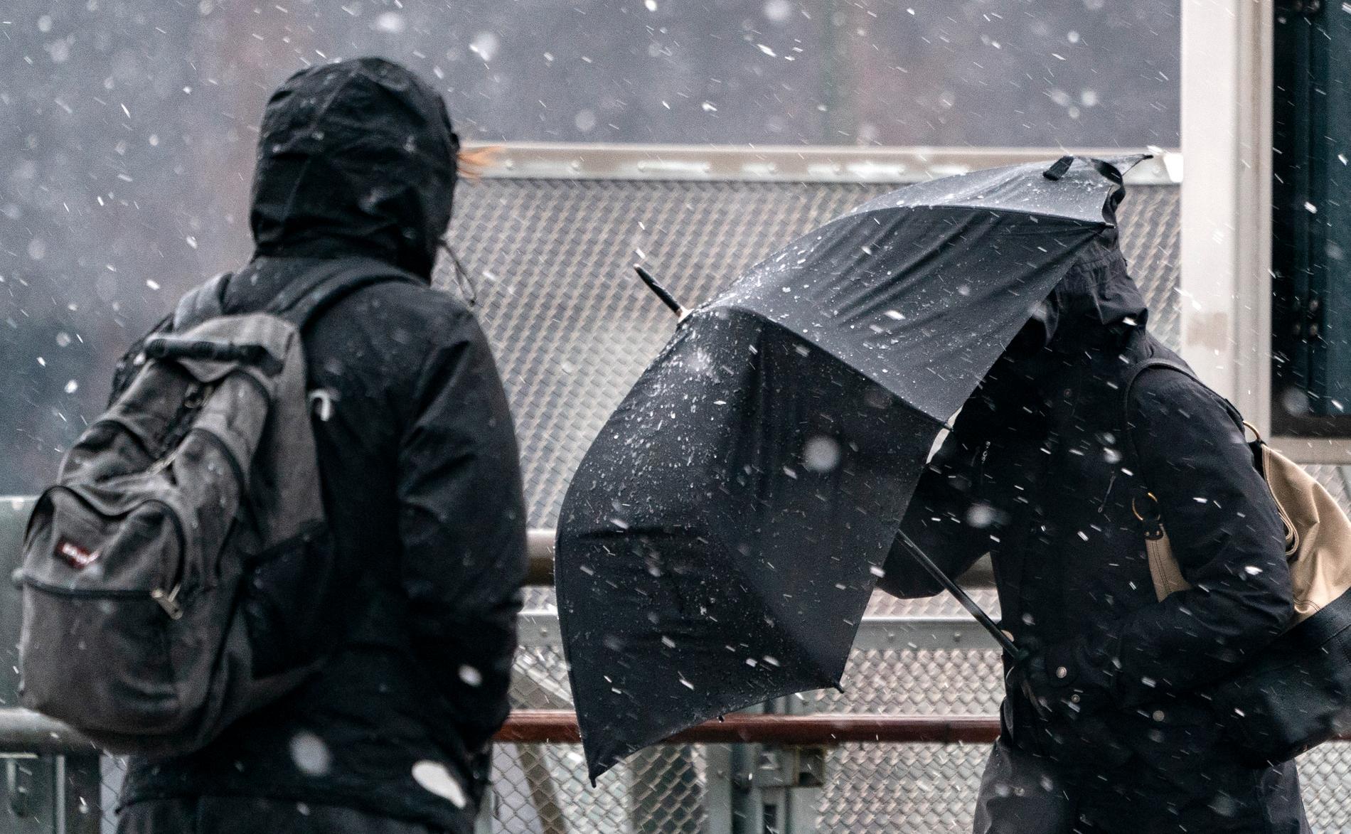 Blandat regn och hårda vindar i Hyllie C i Malmö på torsdagsförmiddagen.