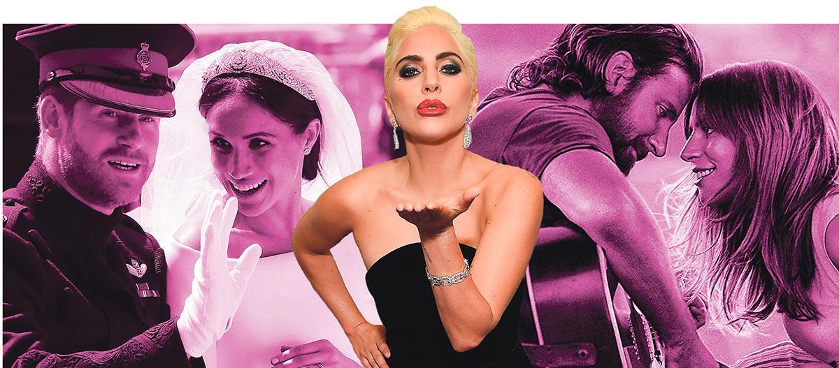 """T v: prins Harry och Meghan Markle vid bröllopet i våras. T h Bradley Cooper och Lady Gaga i rosade filmen """"A star is born"""" som visas på bio just nu. I mitten: Lady Gaga."""