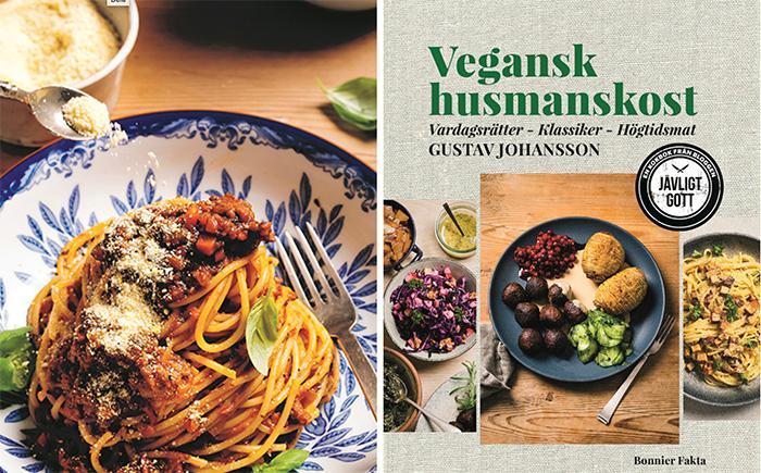 """Spagetti med köttfärs – utan kött! Nu kommer  Gustav Johanssons med sin nya kokbok """"Vegansk husmanskost, Vardagsrätter – Klassiker – Högtidsmat"""" (Bonnier fakta)."""