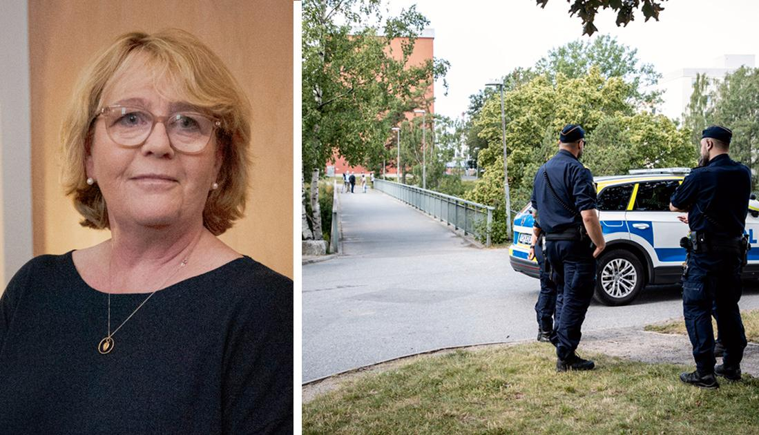 Vilket företag vill flytta sitt huvudkontor till en stad där vissa förorter i praktiken styrs av kriminella gäng? Det undrar Irene Svenonius, Moderaterna.
