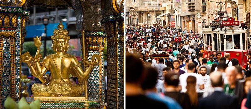 Erawan Shrine i Bangkok och Taksim-torget i Istanbul är två drabbade platser.