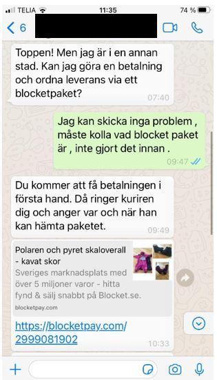 Bedragarna styr över samtalet till Whatsapp, med målet att locka in säljarna på den falska sajten blocketpay.com.