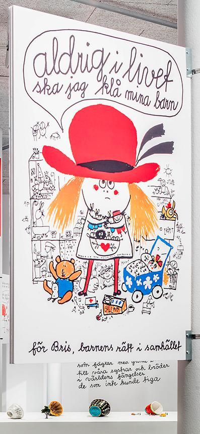 """Helga Henschen-affisch med Lubaina Himids """"Jelly mould pavilions for Liverpool"""" (nedtill), på utställningen """"Starting from the self""""."""