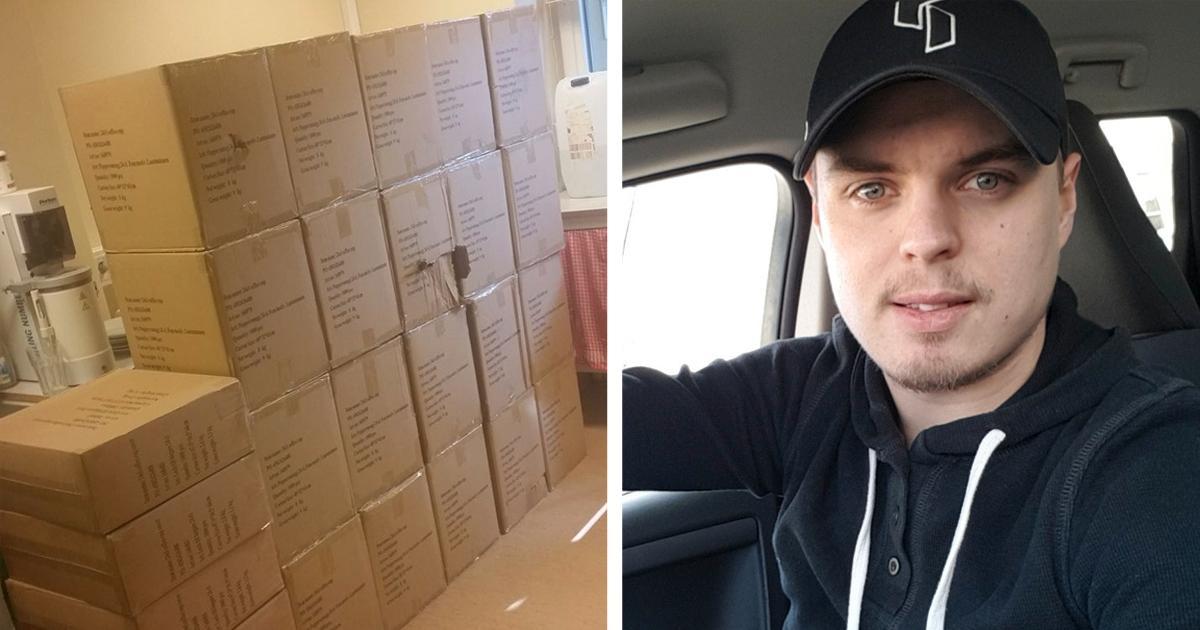 Robin Johansson, 24, hade förväntat sig 20 små förpackningar – men fick betydligt mer post än så.
