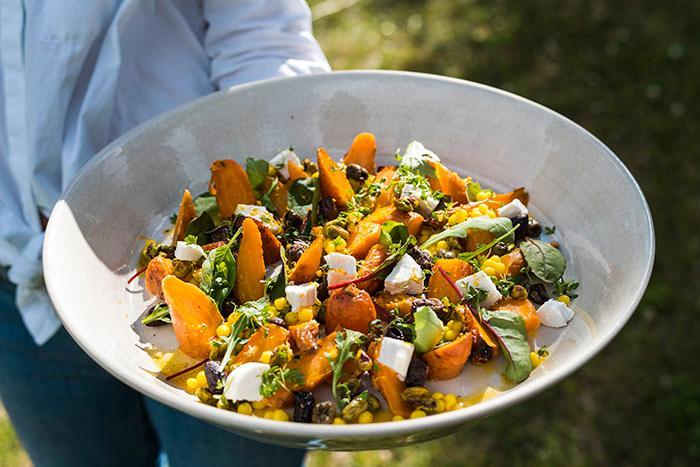 Vegetariskt med härlig apelsindressing.