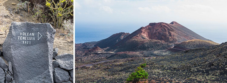 Vulkanlandskapet i Volcán de Teneguía, Las Palmas. Senaste gången vulkanen Teneguia hade ett stort utbrott var 1971.