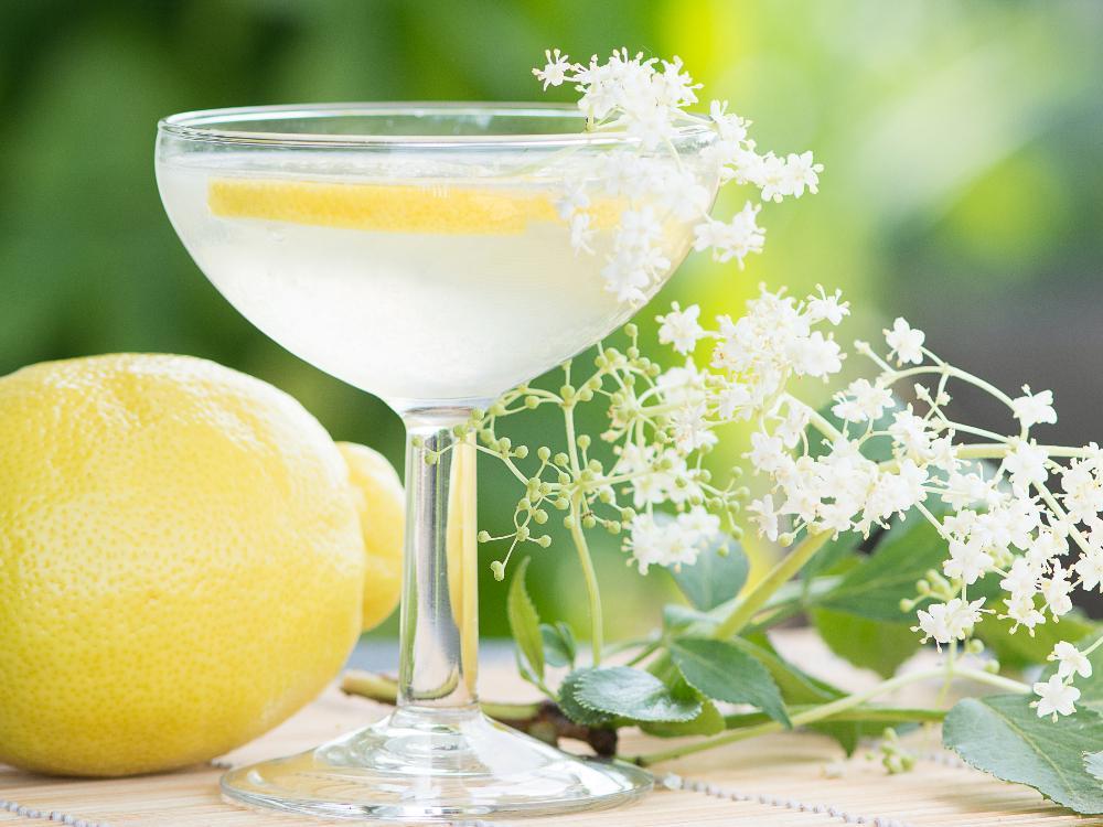 Sommardryck med smak av fläder och citron.