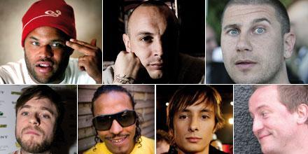 Sveriges hiphop samlad Ken, Petter, Markoolio, Thomas Rusiak, Timbuktu, Danne i Snook, Mange Schmidt.